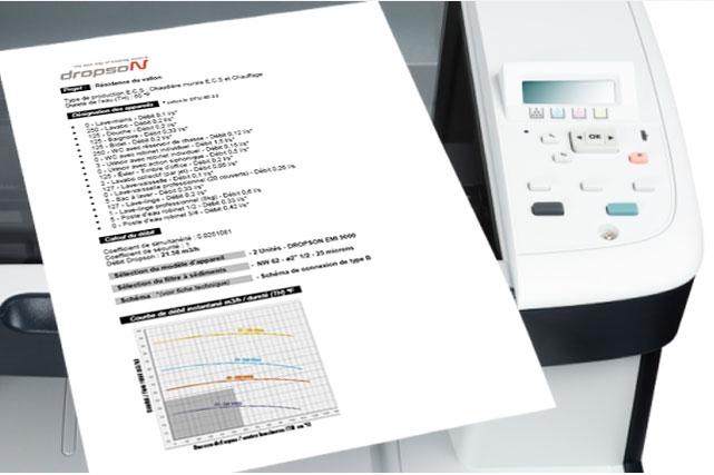 Impresión del estudio de cálculo descalcificador electrónico